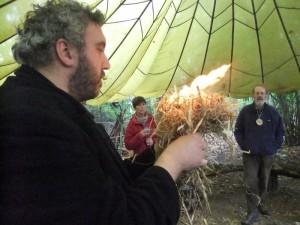 Westley making fire