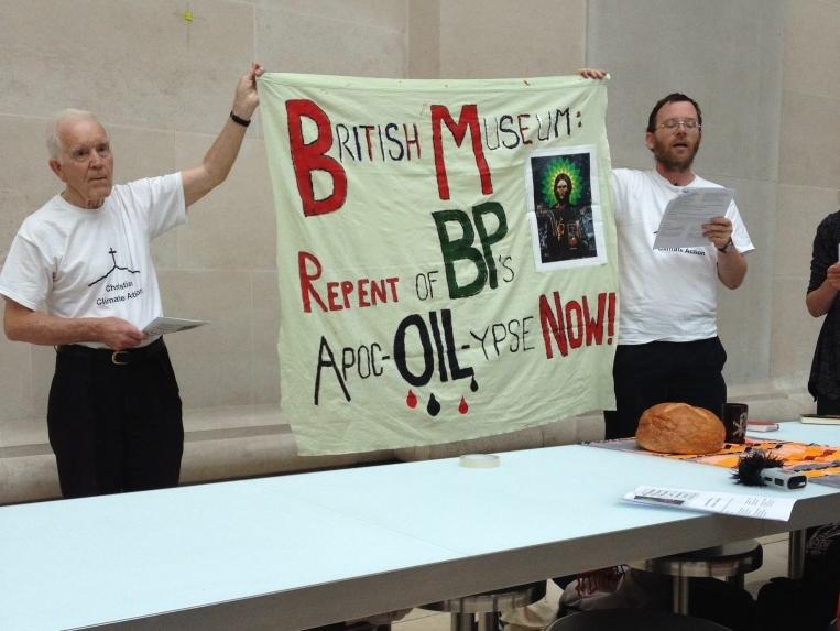 Communion service at protest at BP  Art Display at V&A