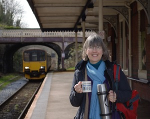 Deborah having coffee at the station